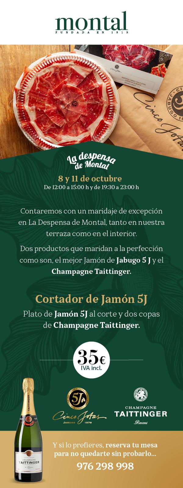 ¡Maridaje Jabugo 5j y Champagne Taittinger!